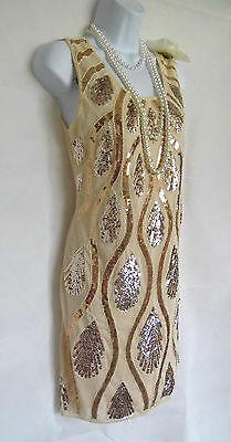 Nude 20's Gatsby Vintage Look Charleston Beaded Sequin Flapper Dress Size 10/12