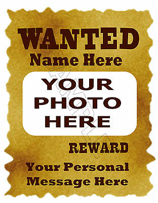 Wanted Poster Photo Personalized Print Birthday Gift