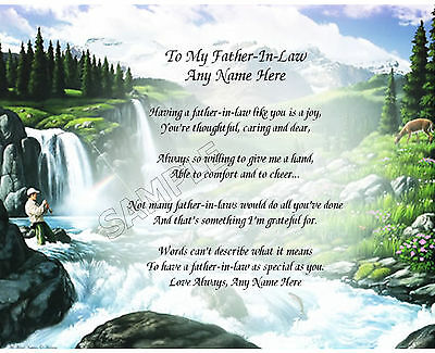 To My Father In Law Personalized Art Poem Memory Birthday Father's Day Gift