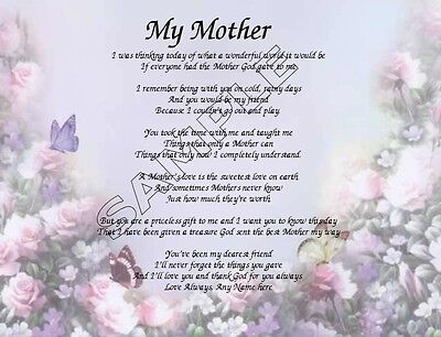 My Mother Personalized Art Poem Memory Birthday Mother's Day Gift