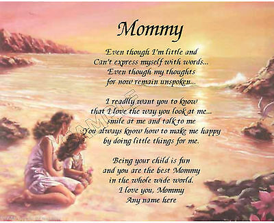 Mommy Personalized Art Poem Memory Birthday Mother's Day Gift