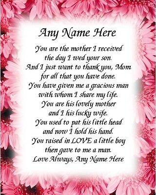 Mother In Law Personalized Art Poem Memory Birthday Mother's Day Gift