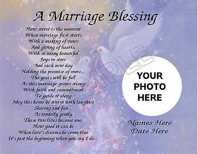 A Marriage Blessing Photo Personalized Art Poem Memory Love Gift Print