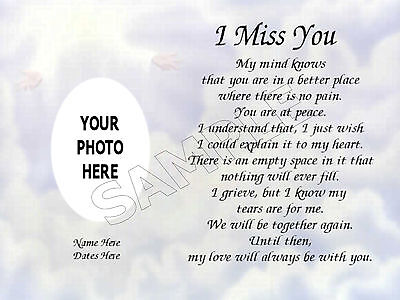 I Miss You Photo Personalized Art Poem Memory Loved One Gift