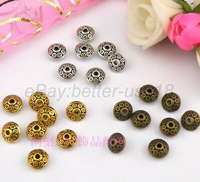 100Pcs Tibetan Silver, Gold, Bronze, Charms Spacer Bead 6X4MM (hole1.8-2MM) A784