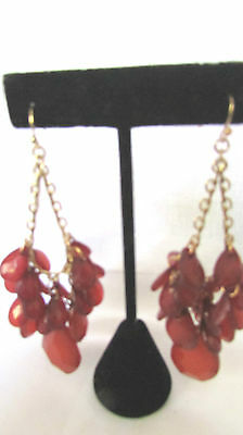 "Gold Tone Chandelier Red Stone French Wire Earrings 3 1/2""  Nickel Free"