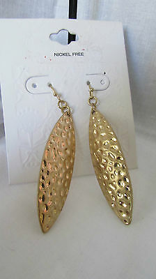 """Gold Tone Metal Shield Style  French Wire Earrings 2 1/4""""  Nickel Free"""