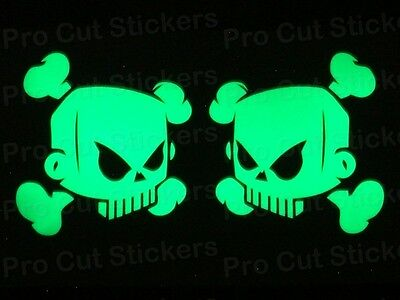 Ken Block Solid Skulls Small Large Glow in the Dark Luminescent Stickers Decals