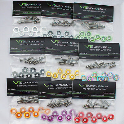 [16 Peice Kit] M6 Anodized Aluminum Fender Washers & Bolts Engine Dress up