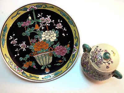 Lot Of 2 Hand Painted Embossed Ceramic Made In Japan Plate