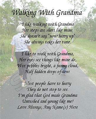Walking With Grandma Personalized Print Poem Memory Birthday Mother's Day Gift