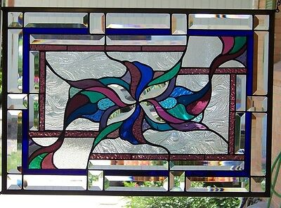 """Stained Glass Window Abstract Hanging 17 1/2 X 25 1/8"""""""