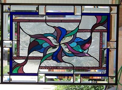 """Stained Glass Window Hanging 17 1/2 X 25 1/8"""""""