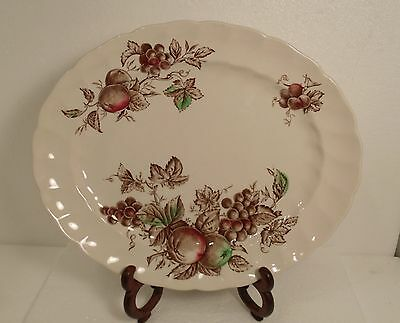 Johnson Bros Harvest Time Ironstone Oval Serving Platter Hand Engraved England