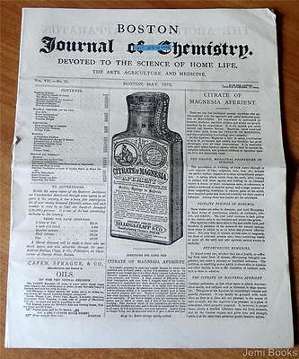 Boston Journal Of Chemistry May 1873 Homeopathic Herb Medicine Agriculture Good