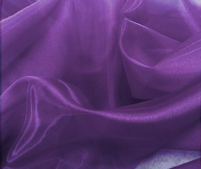"""Purple Sheer Organza Fabric 60/"""" Wide Roll High Quality Draping Sash bows Overlay"""