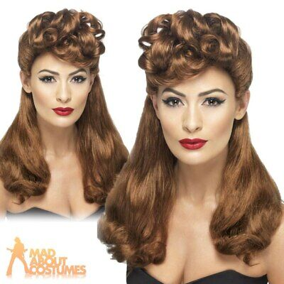 Ladies 1940s Vintage Wig WW2 Wartime Auburn Long Curls Retro Pin Up Fancy Dress