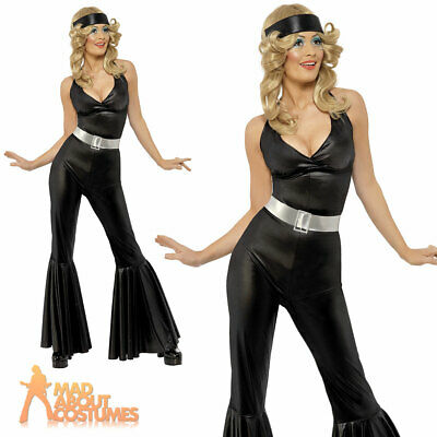 Ladies 1970s Disco Diva Fancy Dress Costume Abba Jumpsuit Flares Outfit 8 - 18