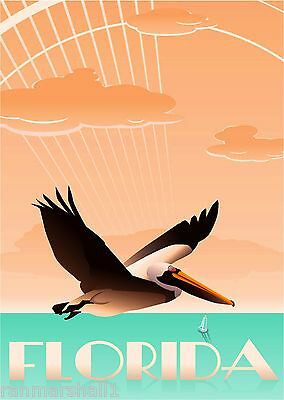 Miami Beach Florida Pelican Bird United States Travel Advertisement Poster