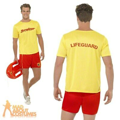 Mens 80s 90s Baywatch Beach Licensed Official Fancy Dress Costume Stag Party