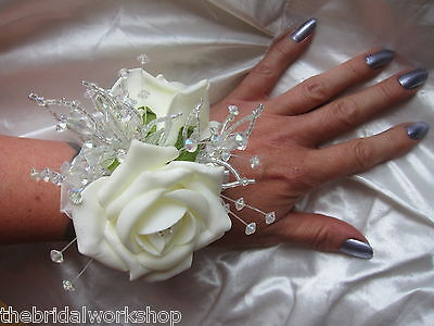Wedding Flowers Prom Wrist Corsage Buttonhole Rose and Crystal - All Colours