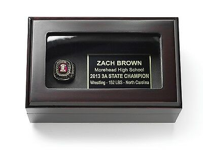 Championship Ring Display Case Box for Gold Ring - FREE ENGRAVING