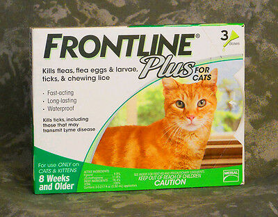 Frontline Plus for Cats Green 3 Pk * FAST FREE SHIPPING*