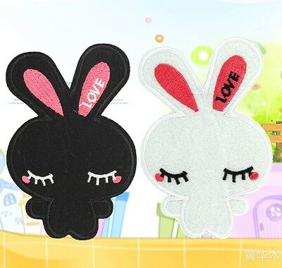 FD810 Embroidered Cloth Iron On Patch Sew Motif Applique Couple Cute Rabbit 2pcs