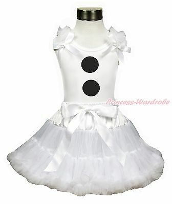 Character Snowman Olaf Top Pure White Pettiskirt Baby Girl Outfit Set 1-8Year