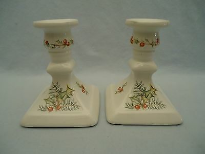 Two Set Royal Winton Made In England Ironstone Candle Stick Holder Holly Berry