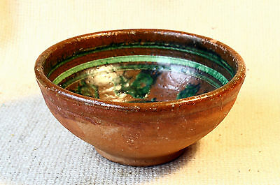 ANTIQUE 19`c ISLAMIC Ottoman Empire Glased Pottery Ceramic Dish Bowl #9
