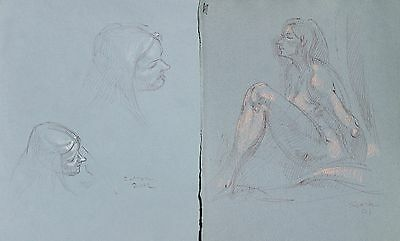 Miriam Slater 2 pen drawings of female model 2001
