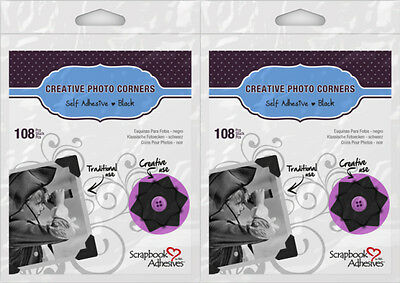 Scrapbook Adhesives (2) Packs 108/pack  Black Paper Photo Corners*  426398