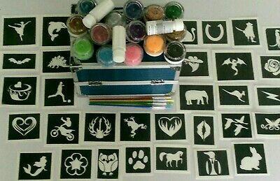 Professional glitter tattoo set inc 500 stencils + 15 colours + FREE VANITY CASE