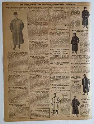 OVERCOAT, raincoat, rubber, oil slicker, worsted 1905 Sears Catalogue vintage ad