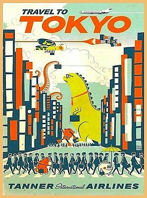 Travel to Tokyo by Clipper Godzilla Japanese Japan Advertisement Poster Print