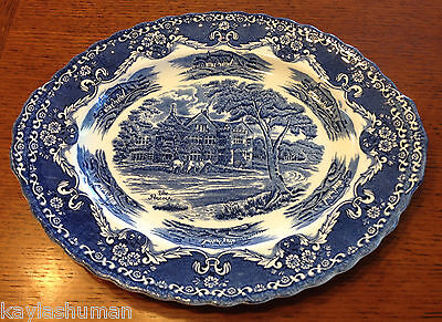 "Grindley English Country Inns Blue 12"" Oval Serving Platter ~The Peacock~"