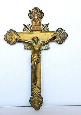 Antique Big Bronze Cross Crucifix Ornate Jesus Suffering