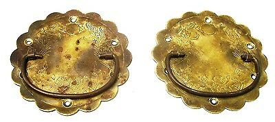 PAIR....Antique Hardware Brass Drawer Pull Trunk Part Chest Handle Salvaged Part