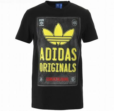 5ac39e3691624 ADIDAS GRAPHIC TRUNK TEE SHIRT Black plate old school trefoil logo new
