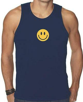 NEW FOR Men's Printed SMILEY FACE FUNNY MMA HAPPY SMILE GRAPHIC Tank Top TEE