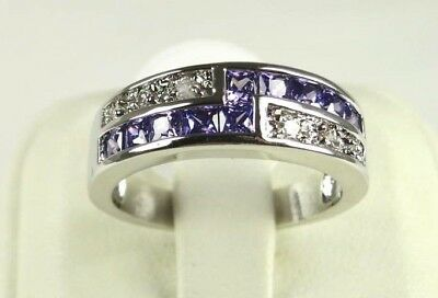 R#4570 simulated Purple Amethyst & Topaz gemstone ladies silver ring size 8