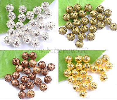 GOLD & SILVER PLATED,BRONZE,COPPER Metal FILIGREE Spacer BEADS 6MM 8MM 10MM 12MM