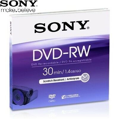 SONY DVD-RW 1.4GB 8cm 30min Rewritable Mini DVD Discs for Camcorders Pack 5