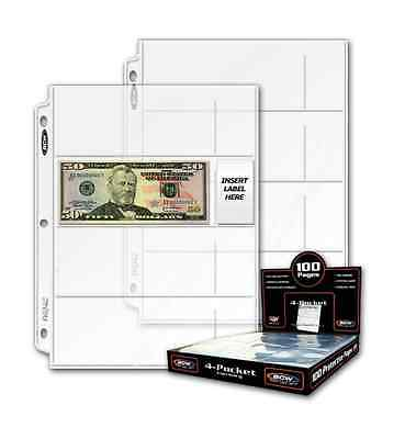 100 sheets BCW 4 Pocket Currency Pages Binder Albums INCLUDES BOX