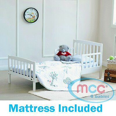 White Wooden Toddler Bed Junior Kids Children Bed with Foam Mattress