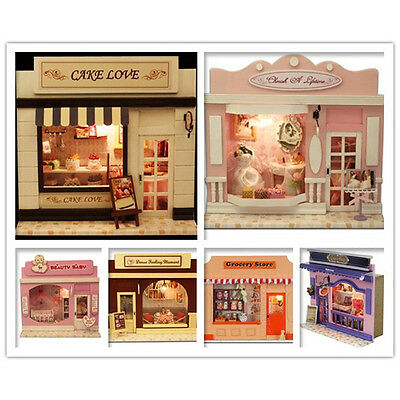 9 PCS Handmade Wooden Dollhouse Dolls House DIY European Miniature Shop