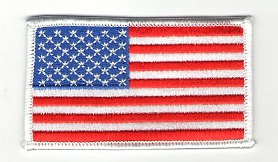 AMERICAN FLAG w/WHITE BORDER-Iron On Embroidered Applique Patch/Patriotic, USA