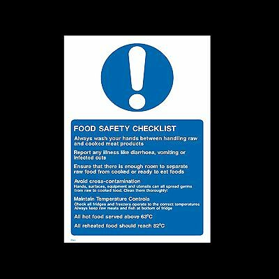 Food Safety Checklist Sign, Sticker - All Sizes & Materials - (FP43)