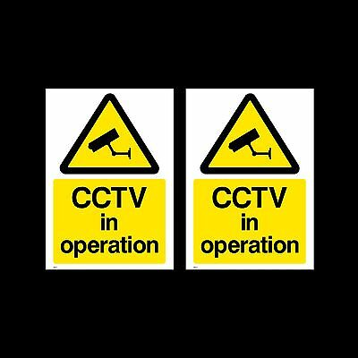CCTV in Operation Sign, Sticker - 50mm x 70mm - Pack of 2 - Security (MISC11)
